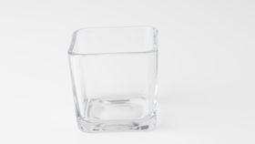 "Image of a Glass 4"" Bevelled Square Vase"