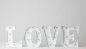 "Image of a 8"" White LOVE Marquee Sign"
