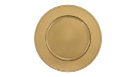"Image of a 13"" Round Charger Plate, Beaded Gold"