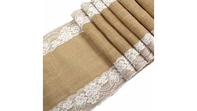 Image of a 18x90 Burlap and Edging Lace Runner