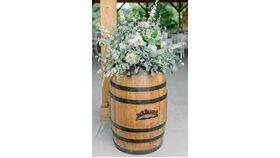 Image of a Fresh Floral Wine Barrel Arrangement