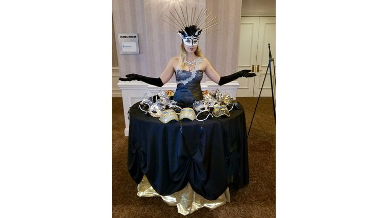 Picture of a Table Lady - Black and Gold Masquerade
