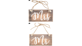 Image of a Mr & Mrs Wooden Chair Signs