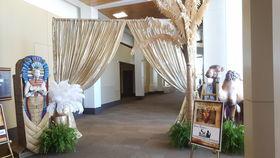 Image of a Gold Lamé Draped Entrance