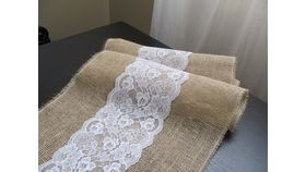 Image of a 18x90 Burlap & Center Lace Runner
