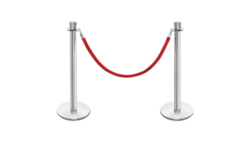 Image of a Pair of Silver Stanchions with Red Velvet Rope