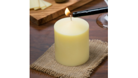 "Image of a 3 1/2"" Ivory Pillar Candle"