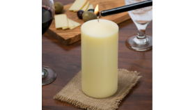 "Image of a 6 1/2"" Ivory Pillar Candle"