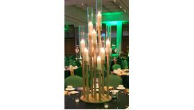 Image of a Multi-tiered Gold Candelabra
