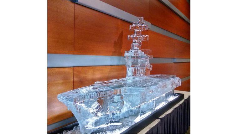 Picture of a 10ft Aircraft Carrier Ice Sculpture