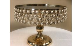 """Image of a 14"""" Round Beaded Cake stand Gold"""