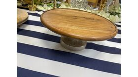 """Image of a 10"""" Round Cake Stands Natural Wood"""