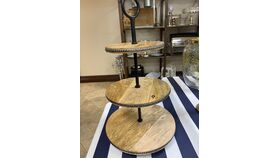 """Image of a 11' x 21"""" Round Cup cake Stand Natural wood"""