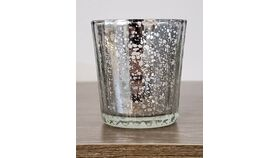 Image of a Silver Mercury Glass Votive - Faceted