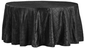 "Image of a 132"" Black Pintuck Taffeta Tablecloth"
