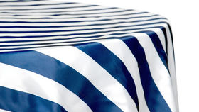 Image of a 132' Navy & White Stripe Satin Cvlinens Tablecloths