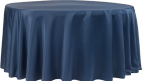 Image of a 132' Navy Blue Lamour Cvlinens Tablecloths