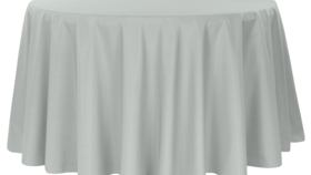 Image of a 132' Silver / Grey Polyester Cvlinens Tablecloths