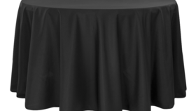 Image of a 132' Black Polyester Cvlinens Tablecloths