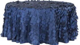 Image of a 132' Navy Blue Petal Circle Taffeta Tablecloths