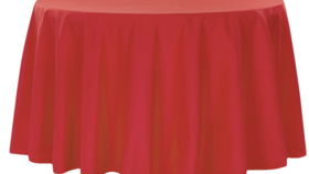 Image of a 132' Red Polyester Cvlinens Tablecloths