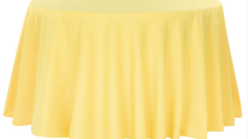 Image of a 132' Canary Yellow Polyester Cvlinens Tablecloths