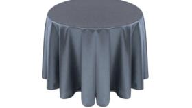 Image of a 132' Silver/Gray Taffeta Tablecloths