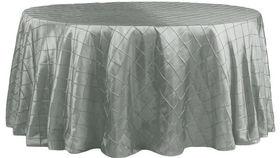 Image of a 132' Dark Silver/Platinum Taffeta Pintuck Tablecloths
