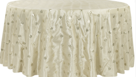 Image of a 132' Champagne Sequin Embroidery Taffeta Cvlinens Tablecloths
