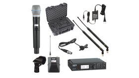Image of a *Shure ULXD Wireless Beta 87a Mic Handheld + Body Back Lavalier Combo