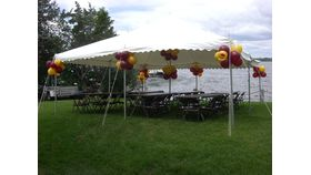 Image of a 20' by 20' white pole tent
