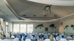 Image of a White Sheer Ceiling Drapes @ Marlin Club
