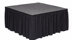 """Image of a 4' x 16' x 24"""" Stage with Skirt and Stair Step (duplicate)"""