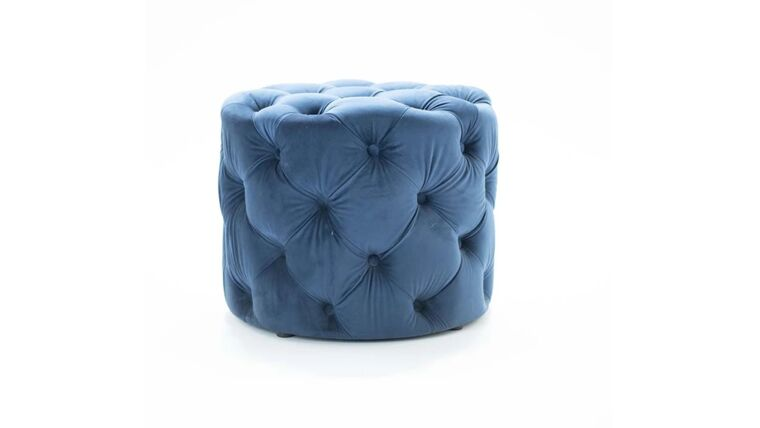 Picture of a Blue Velvet Pouf