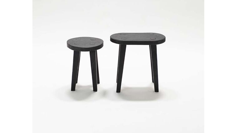 Picture of a Black Manila Stool- Round