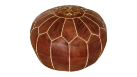 Image of a Brown Leather Poof