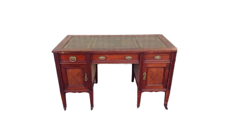 Picture of a Brown & Green Wooden Desk