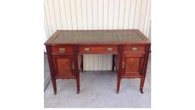 Image of a Brown & Green Wooden Desk