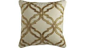 Image of a Beaded Gold & Cream Pillow