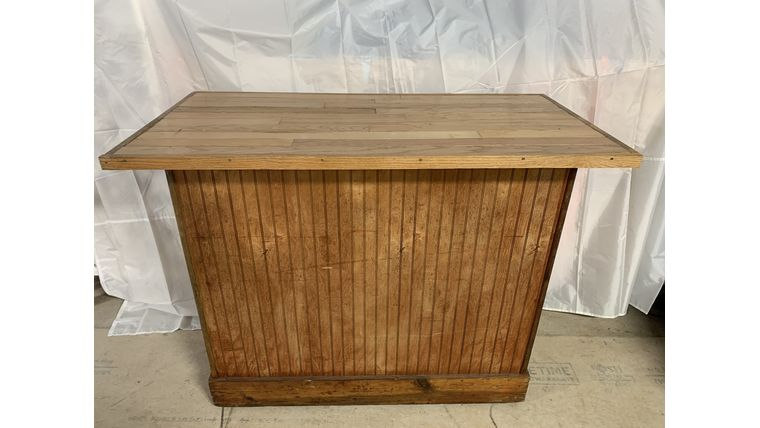 "Picture of a Bar, Portable Rustic wood, Oak top 50""x25"""