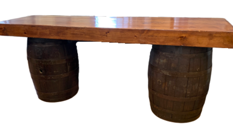 """Picture of a Bar, Wine Barrel, hardwood top, bar back table 8'x42""""x42"""""""