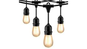 Image of a Lights, Bistro 24' (12 bulbs) - Black Cord/Holders