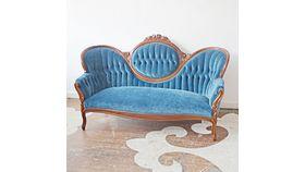 Image of a Blue Velvet Settee
