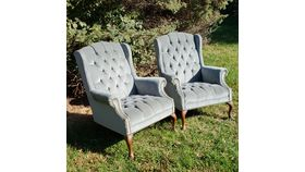 Image of a Blue-Green Wingback Chairs