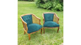 Image of a Green Velvet Wicker Chairs