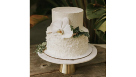 """Image of a 12"""" Marble + Gold Cake Stand"""