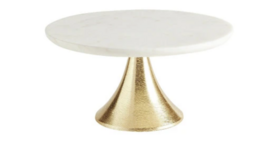 "Image of a 10"" Marble + Gold Fluted Cake Stand"