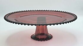 "Image of a 12"" Beaded Purple Glass Cake Stand"