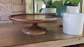"Image of a 12"" Mango Wood Cake Stand"