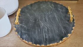 "Image of a 15"" Round Chalkboard Slate Cheese Tray"